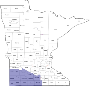 GFWC of MN Southwest District County Map