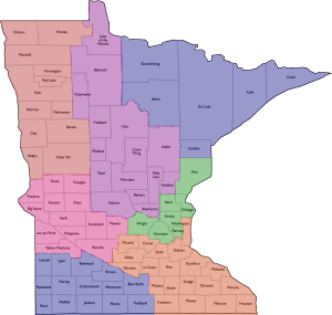 GFWC of MN District Map by Counties