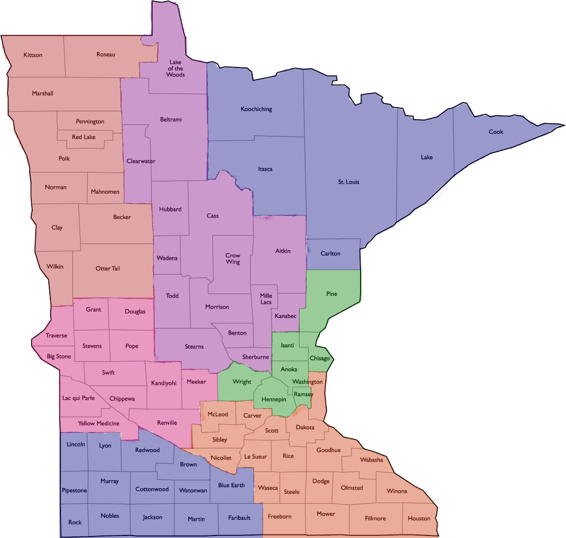 Mn county district map general federation of womens clubs minnesota gfwc of mn district map by counties publicscrutiny Images